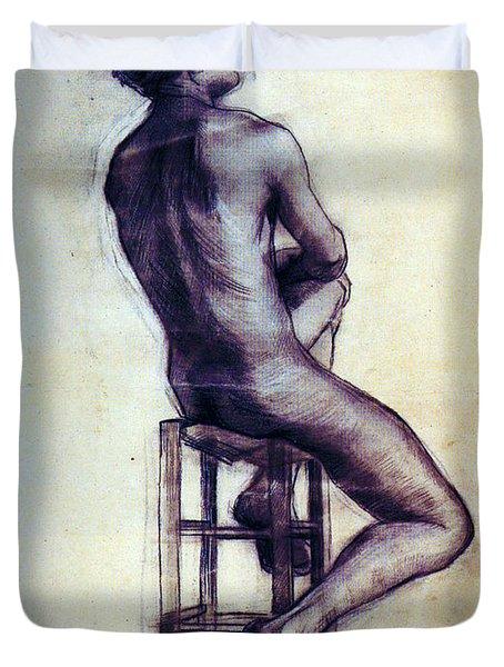 Nude Man Sketch Duvet Cover by Sumit Mehndiratta