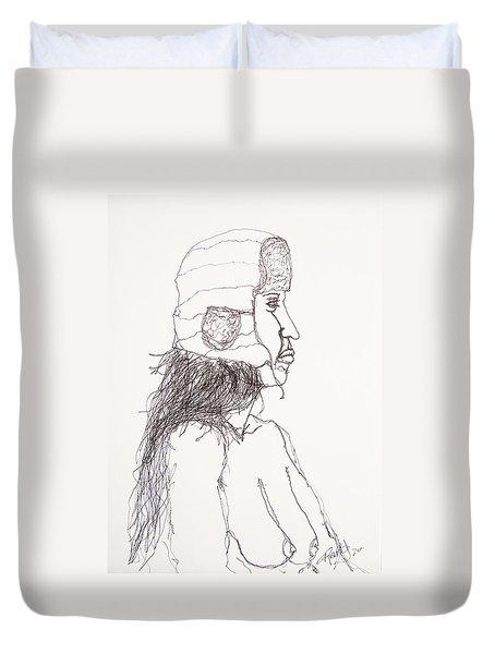 Nude With Hat On Bus Duvet Cover by Rand Swift