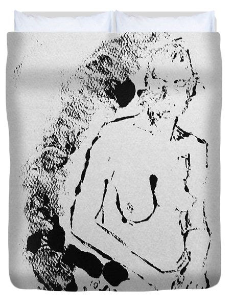 Duvet Cover featuring the painting Nude Young Female That Is Mysterious In A Whispy Atmospheric Hand Wringing Pose Highly Contemplative by M Zimmerman