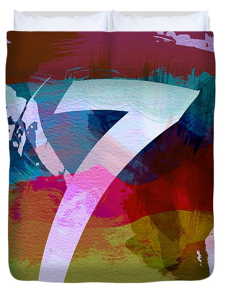 Number 7 Duvet Cover by Naxart Studio