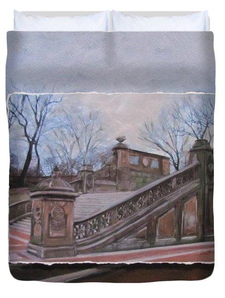 Nyc Bethesda Stairs Layered Duvet Cover by Anita Burgermeister