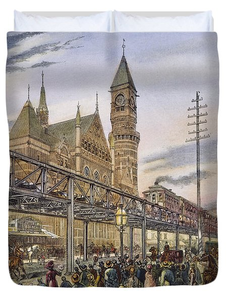 Nyc Elevated Train, 1878 Duvet Cover