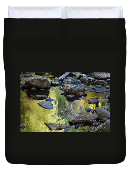 Duvet Cover featuring the photograph Oak Creek Reflection by Tam Ryan