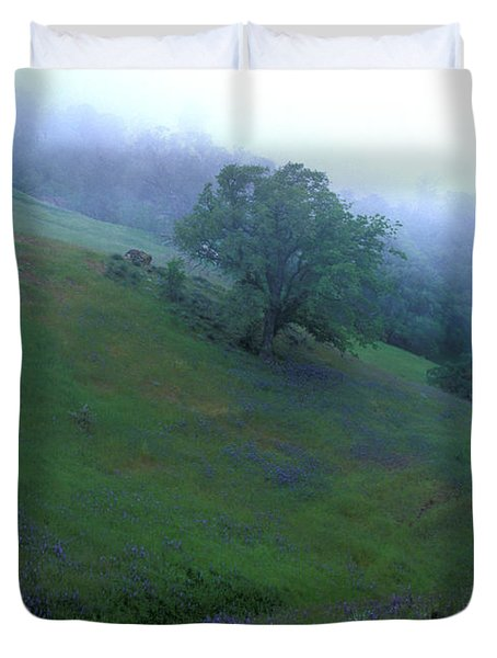 Oak With Lupine In Fog Duvet Cover by Kathy Yates