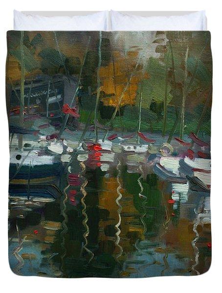 Oakville Harbour On Duvet Cover by Ylli Haruni