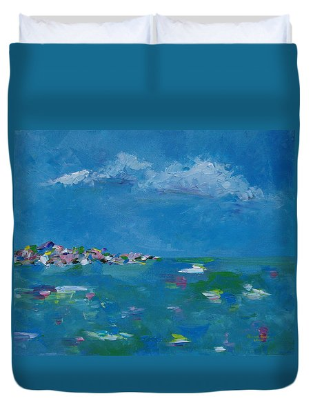 Duvet Cover featuring the painting Ocean Delight by Judith Rhue