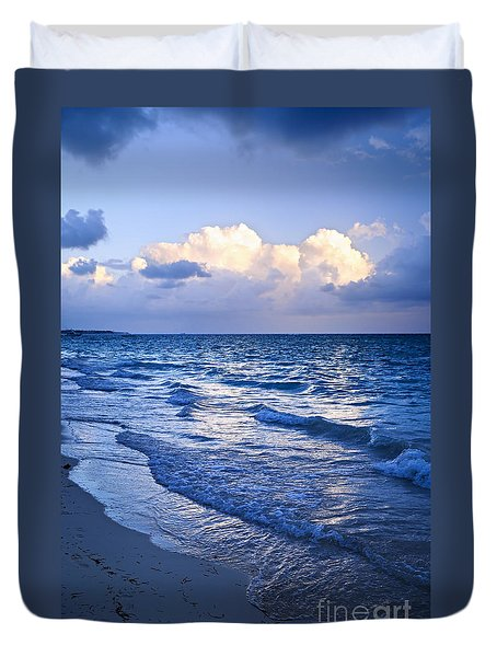 Ocean Waves On Beach At Dusk Duvet Cover by Elena Elisseeva