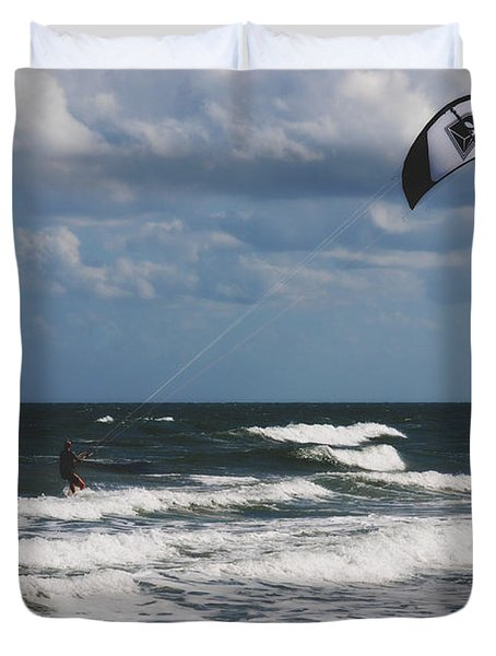 October Beach Kite Surfer Duvet Cover by Susanne Van Hulst