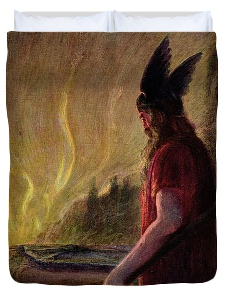 Odin Leaves As The Flames Rise Duvet Cover by H Hendrich
