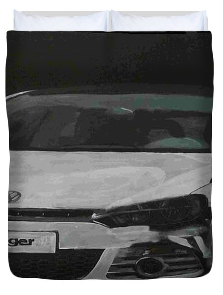 Duvet Cover featuring the painting Oettinger Vw Scirocco  by Richard Le Page