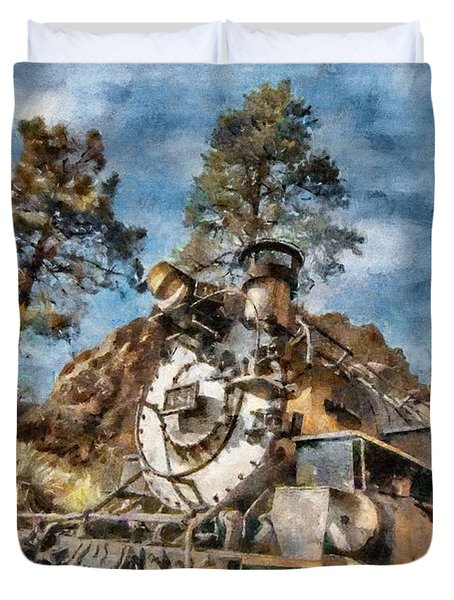 Of Mountain And Machine Duvet Cover by Jeffrey Kolker