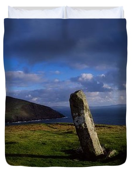 Ogham Stone At Dunmore Head, Dingle Duvet Cover by The Irish Image Collection