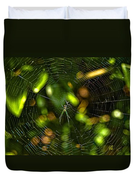 Duvet Cover featuring the photograph Oh The Web We Weave by Barbara Middleton
