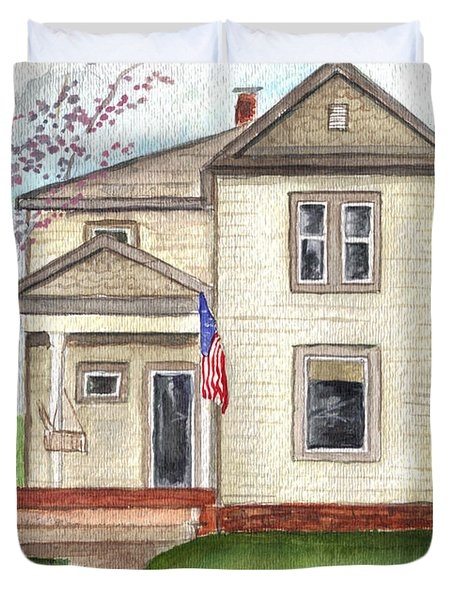 Duvet Cover featuring the painting Ohio Cottage With Flag by Clara Sue Beym