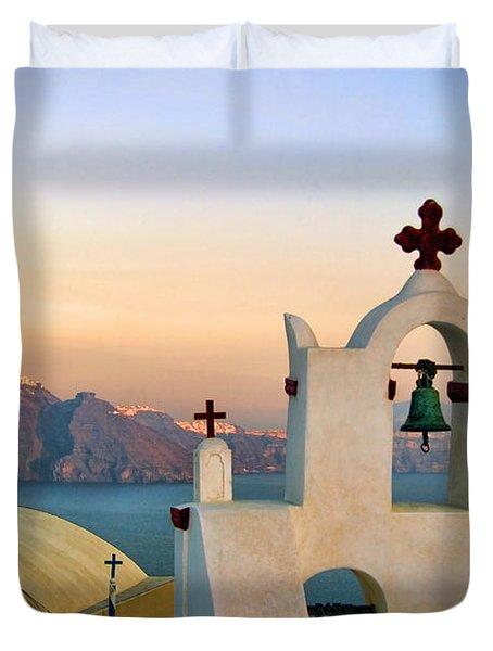 Oia In Santorini Duvet Cover