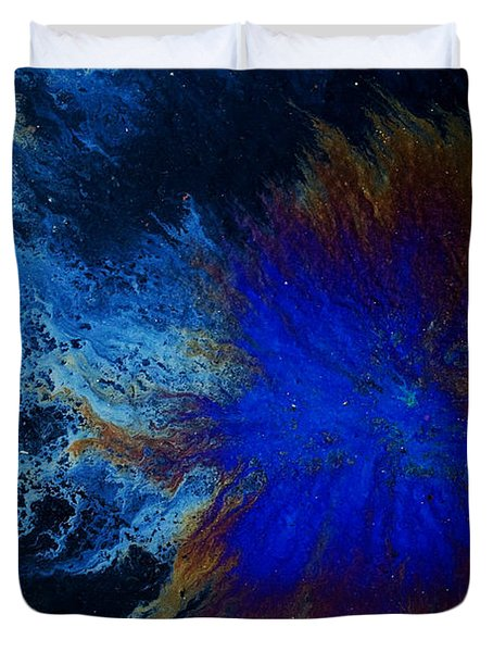 Oil On Pavement Cradle Of The World Duvet Cover