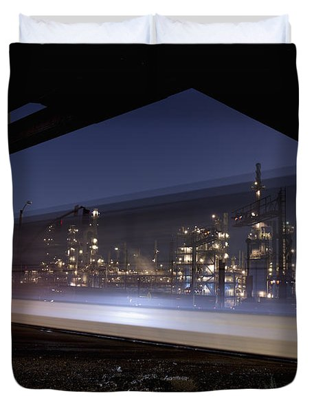 Oil Refinery And Train Blur Duvet Cover by Mike Raabe