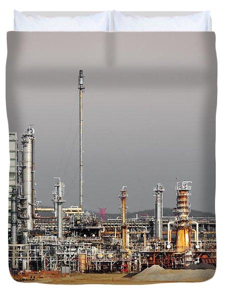 Oil Refinery Duvet Cover by Carlos Caetano