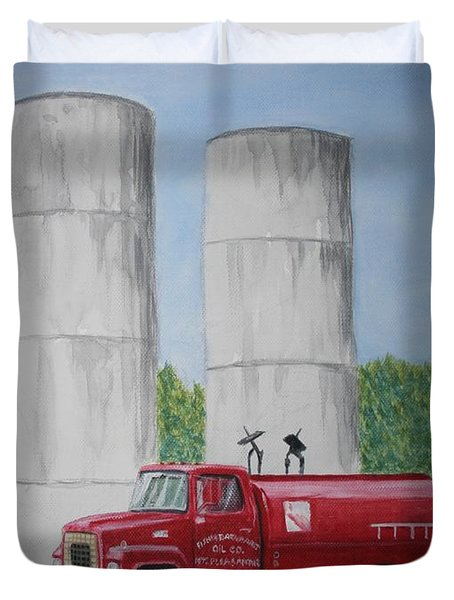 Duvet Cover featuring the painting Oil Truck by Stacy C Bottoms