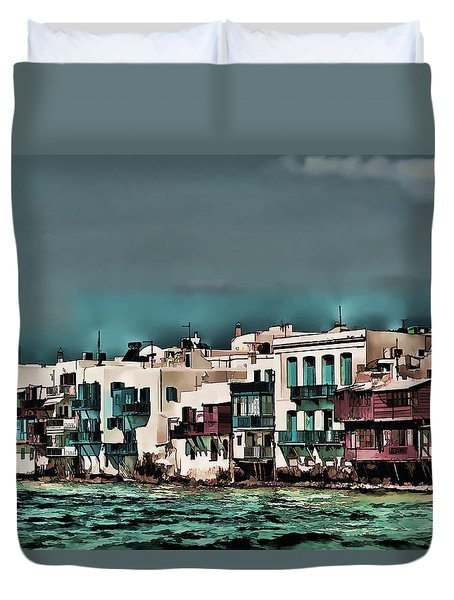 Duvet Cover featuring the photograph Oill Paint Effect Mykonos Greece by Tom Prendergast