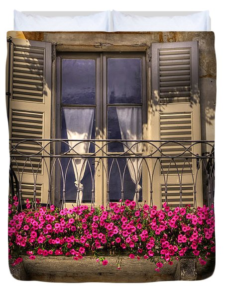 Old Balcony With Red Flowers Duvet Cover by Mats Silvan