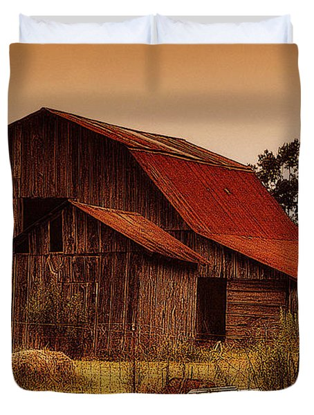 Duvet Cover featuring the photograph Old Barn by Lydia Holly