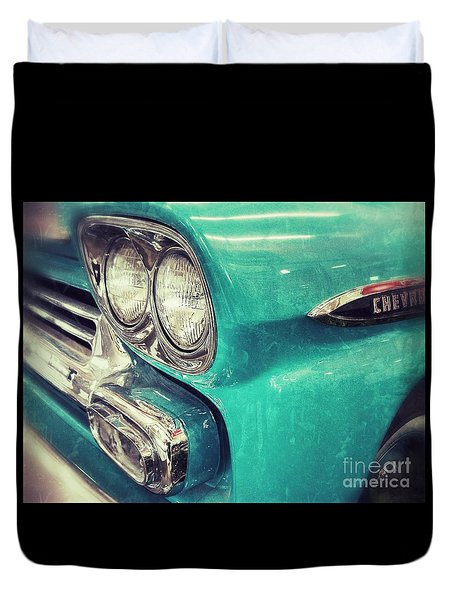 Duvet Cover featuring the photograph Old Blue by Traci Cottingham