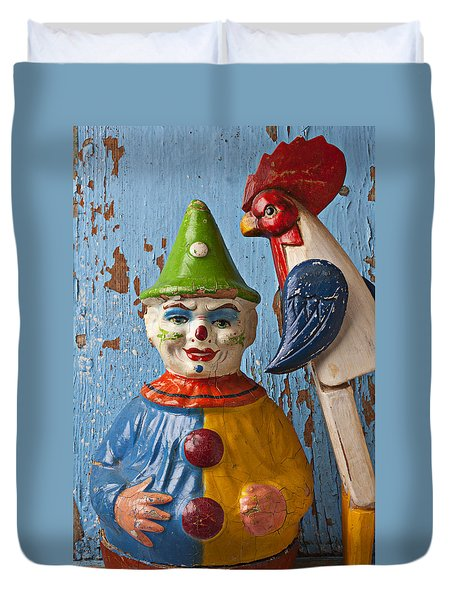 Old Clown And Roster Duvet Cover by Garry Gay