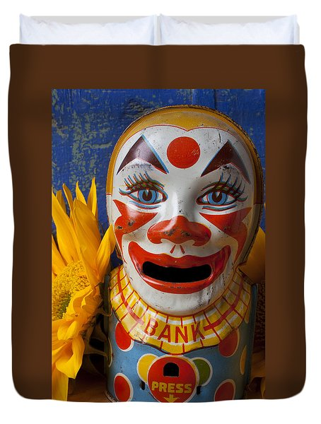 Old Clown Bank Duvet Cover by Garry Gay