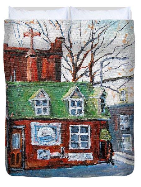 Old Corner Store Montreal By Prankearts Duvet Cover by Richard T Pranke
