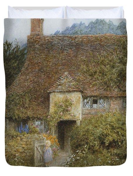 Old Cottage Witley Duvet Cover by Helen Allingham
