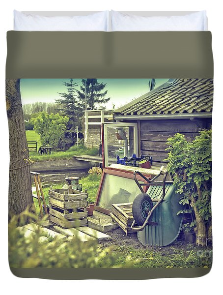 Duvet Cover featuring the photograph Old Country House by Ariadna De Raadt