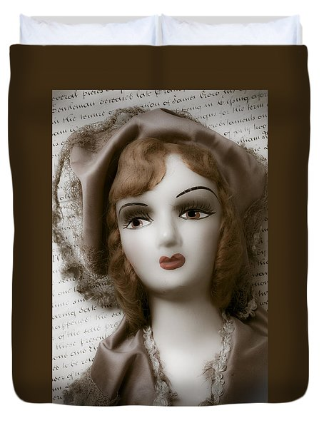 Old Doll On Old Letter Duvet Cover by Garry Gay