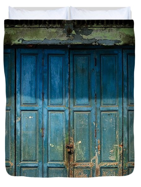 old door in China town Duvet Cover by Setsiri Silapasuwanchai