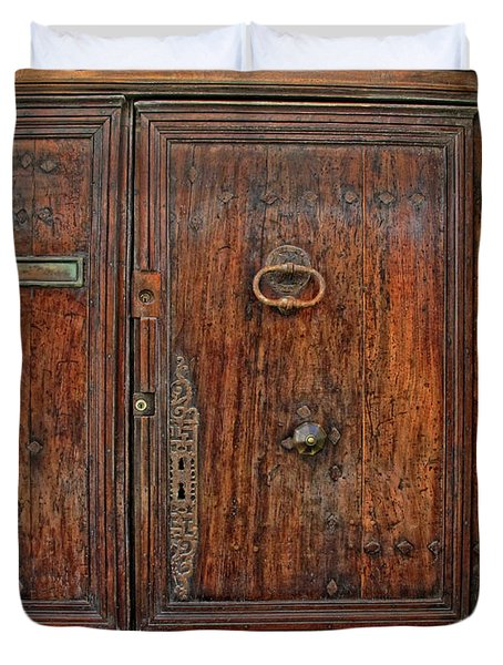 Duvet Cover featuring the photograph Old Door Study Provence France by Dave Mills