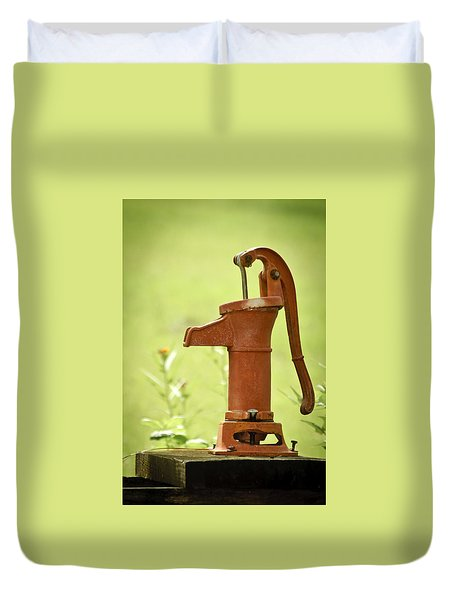 Duvet Cover featuring the photograph Old Fashioned Water Pump by Carolyn Marshall