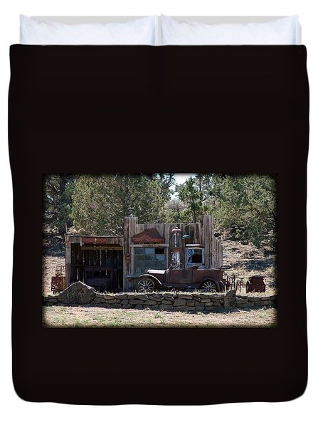 Old Filling Station Duvet Cover by Athena Mckinzie