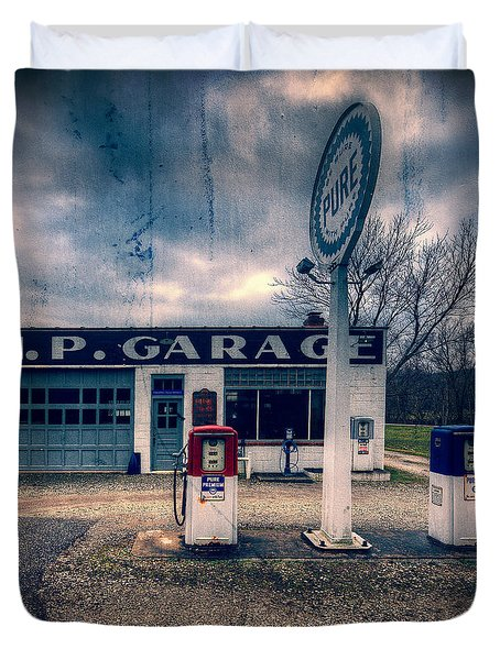 Old  Gas Station  Duvet Cover