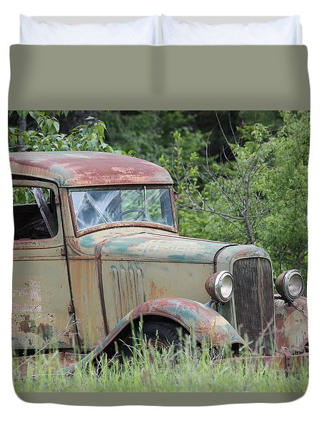 Abandoned Truck In Field Duvet Cover by Athena Mckinzie