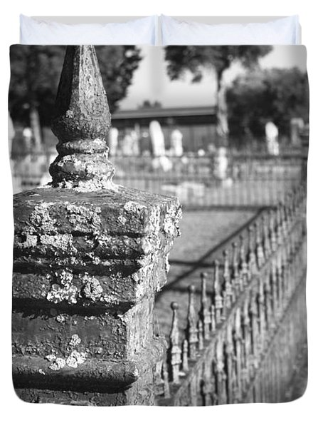 Old Graveyard Fence In Black And White Duvet Cover by Kathy Clark