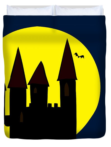 Old Haunted Castle In Full Moon Duvet Cover by Michal Boubin