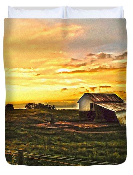 Old Horse Shed At Sundown Duvet Cover by Randall Branham