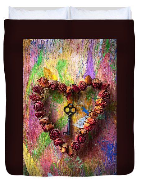 Old Key And Rose Heart Duvet Cover by Garry Gay