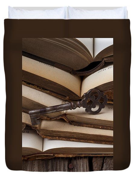 Old Key On Books Duvet Cover by Garry Gay