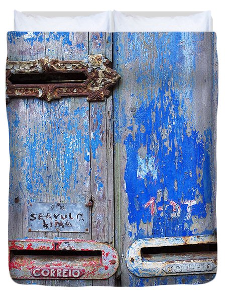 Old Mailboxes Duvet Cover by Carlos Caetano