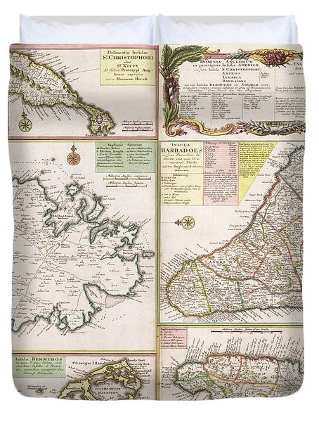 Old Map Of English Colonies In The Caribbean Duvet Cover