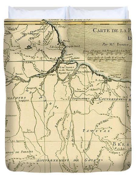 Old Map Of Northern Brazil Duvet Cover by Guillaume Raynal