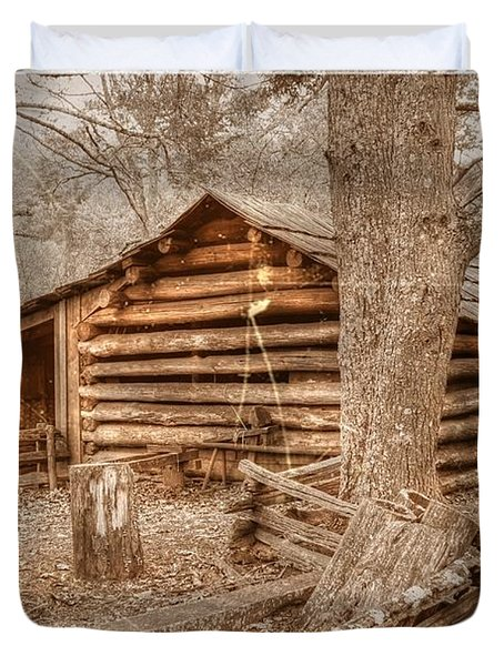 Old Mill Work Cabin Duvet Cover by Dan Stone