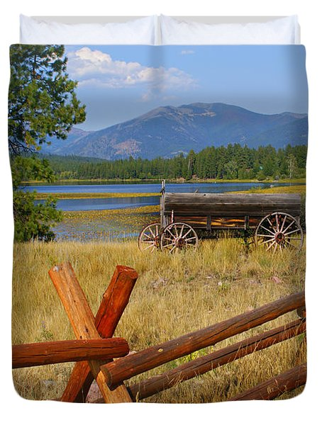 Old Ranch Wagon Duvet Cover by Marty Koch