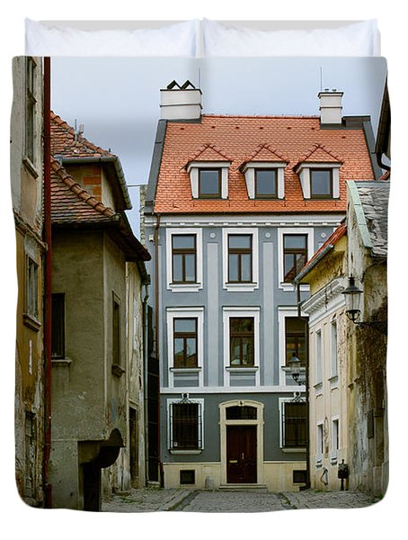 Duvet Cover featuring the photograph Old Street In Bratislava by Les Palenik